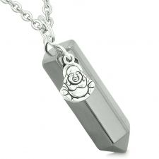 Buy Happy Laughing Buddha Magic Powers Amulet Crystal Point Pendant Hematite 18 inch Neck