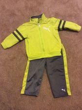 Buy Puma Sweat Pants And Zip Sweat Jacket Gray Neon Green Size 18 months