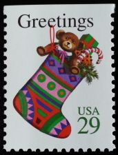 Buy 1994 29c Christmas Stocking, Booklet Single Scott 2872v Mint F/VF NH