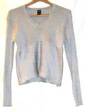 Buy EUC women's W, glittery silver, v-neck, long sleeve, sweater