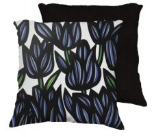 Buy 22x22 Morini Blue Black Pillow Flowers Floral Botanical Cover Cushion Case Throw Pill