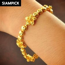 Buy 22k 24k Thai Baht Yellow Gold Plated GP Heart Chain Bangle Bracelet Jewelry B093