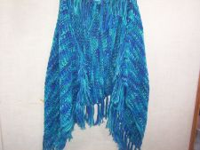 Buy Hand Crocheted Tunisian Lacy Stitch Blue Ombre Fringed Woman's Teen Shawl Wrap