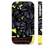 Buy Cobetto Yellow Blue Black Iphone 4/4S Apple Phone Case Flowers Botanical