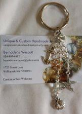 Buy anchor starfish shell glass handmade keyring