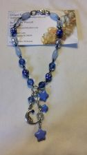 Buy star and moon blue and clear glass and acrylic silver plated handmade anklet