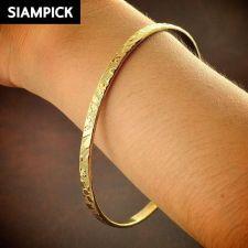 Buy 22k 24k Stack Thai Baht Yellow Gold Plated GP Bangle Bracelet Jewelry New B100