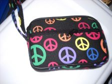 Buy Peace Sign Coin Purse 2 zippers key chain attached canvas material 4 x 3