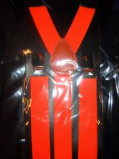 Buy New Suspenders Orange retail packaged adult elastic leather Y back metal clip