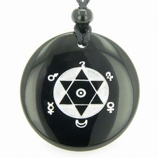 Buy Infinity Magic Celtic Knot Lucky Coin Amulet Snowflake Obsidian Pendant Necklace