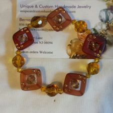 Buy brown and yellow glass and swarovski crystals handmade bracelet sizing available