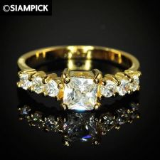 Buy CZ Square Wedding Ring 24k Thai Baht Yellow Gold GP Size 7.5 Vintage Jewelry 16