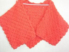 Buy Hand Crocheted coral Slanted Shell Stitch Woman's Shawl Wrap Stole