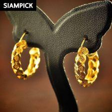 Buy Thai Baht Yellow Gold Filled Real Hoop Dangle Earrings 18k 22k Jewelry New E028