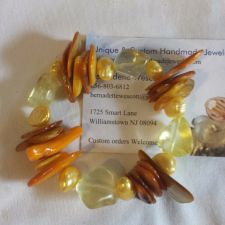 Buy yellow mother of pearl, pearl and quartz handmade bracelet, sizing available