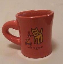 Buy Life Is Good pink salamander Roasting Marshmallow Campfire Dog Coffee Cup Mug