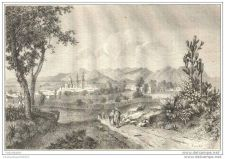 Buy MEXICO - CHIHUAHUA CITY GENERAL VIEW - engraving from 1861