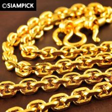 """Buy 28"""" Thai 22k 24k Baht Yellow Gold GP Anchor Chain Mens Long Necklace Jewelry 22"""