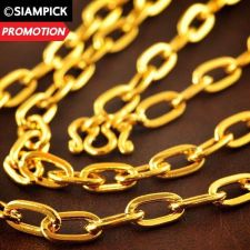 "Buy 24"" Thai Baht 22k 24k Yellow Gold Plated GP Anchor Chain Necklace Jewelry N013"