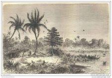 Buy NEW GRANADA - BREAK TIME NEAR SAN-JUAN - engraving from 1873