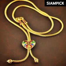 "Buy Thai 22k 24k Enamel Baht Yellow Gold Plated Real 20"" Chain Necklace Jewelry N042"