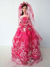 Buy PINK WEDDING GOWN PARTY DRESS UP HANDMADM CLOTHES COSTUME FOR BARBIE DOLLS 12""