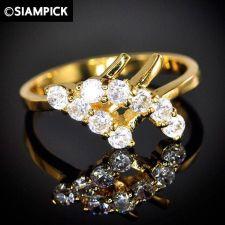 Buy 24k CZ White Wedding Engagement Ring Thai Baht Yellow Gold GP Size 6.5 Jewelry 8