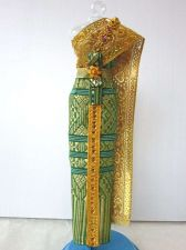"Buy THAI NATIONAL TRADITIONAL GREEN DRESS UP HANDMADE FOR BARBIE, Dolls 12"" COSTUMES"