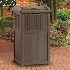 Buy NEW Suncast Wicker Trash Hideaway Brown Outdoor Resin Trashcan