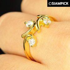 Buy CZ Round 22k 24k Thai Baht Yellow Gold GP Wedding Ring Size 5 6 7 Jewelry R017
