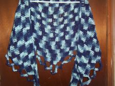 Buy Hand Crocheted Blue Ombre Woman's Teens Lacy Scarf Shawl Wrap