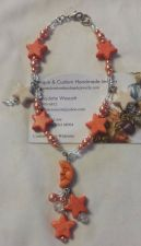 Buy star and moon peach/orange and white silver plated handmade anklet, sizing avail