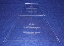 """Buy Quilt Templates-Half Hexagon Set 5"""" & 10"""" with Center Guideline & Guide Holes"""