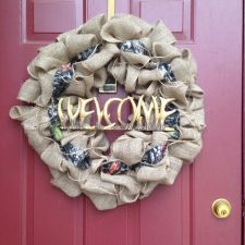 Buy Camo Hunting Burlap Door Wreath With Antlers Welcome Sign!