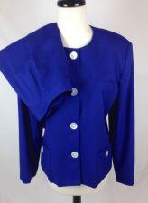 Buy VTG Oleg Cassini Suit 14 Womens Blue Rayon Blazer Jacket Skirt