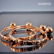 Buy Thai 22k Baht Pink Rose Gold Plated GP Baby Hoop Anklet Bangle Real Jewelry A001