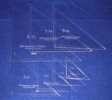 """Buy Laser Cut Quilt Templates- 7 Pce Triangle - 2""""-8"""" With Seam Clear Acrylic 1/8"""""""