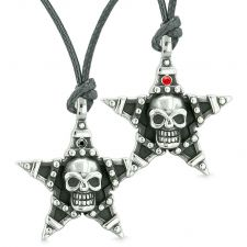 Buy All Seeing Skull Super Star Pentacle Love Couples Best Friends Black Red Crystals Adj