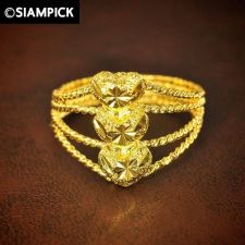 Buy 24k Stacked Heart Wedding Ring Thai Baht Yellow Gold GP Size 7.75 Jewelry Gift 5