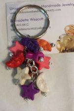 Buy star and moon multi-colored handmade keyring