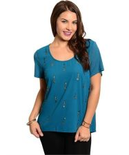 Buy Plus Size ,Casual Teal Top with boxy fit & metallic dangling design accent 1x