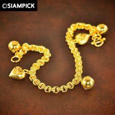 Buy 24k Double Rolo Chain Bracelet Thai Baht Yellow Gold GP Bangle Charm Jewelry 122
