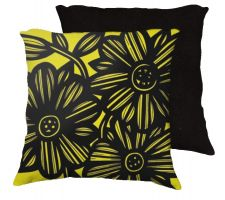 Buy Wherry 18x18 Yellow Black Pillow Flowers Floral Botanical Cover Cushion Case Throw Pi