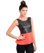 Buy Trendy Women Red Hot with Faux Leather peplum top S,M,L