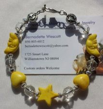Buy star and moon yellow and clear handmade bracelet silver plated sizing available