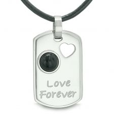 Buy Love Forever Heart Amulet Dog Tag Positive and Magic Energy Simulated Black Onyx Pend