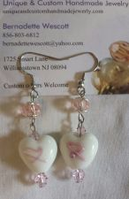 Buy breast cancer awareness glass handmade earrings