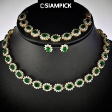 Buy CZ Emerald 24k Thai Baht Yellow Gold GP Necklace Earrings Bracelet Jewelry Set 7