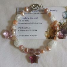 Buy star pink purple and clear pearls and glass handmade bracelet sizing available