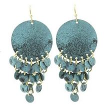 Buy Aged Finish Wavy Metal Disc Earring